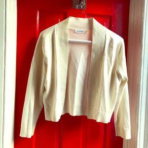Calvin Klein Cropped Cream Cardigan